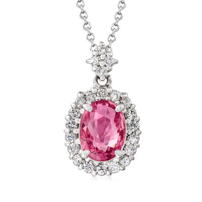 C. 2000 Vintage Certified 1.42 Carat Pink Sapphire and .30 ct. t.w. Diamond Pendant Necklace in Platinum and 18kt Gold