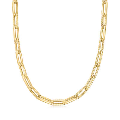 "Phillip Gavriel ""Italian Cable"" 14kt Yellow Gold Paper Clip Link Necklace"