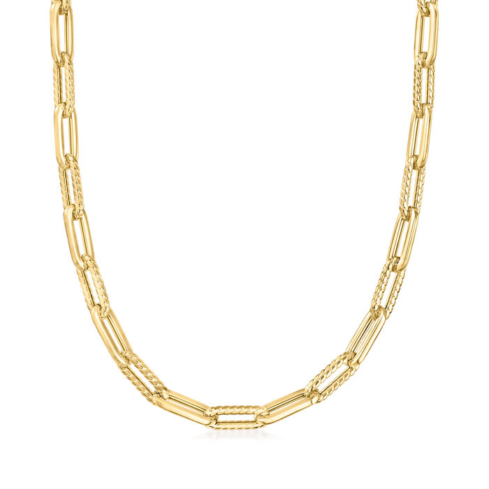 """Phillip Gavriel """"Italian Cable"""" 14kt Yellow Gold Paper Clip Link Necklace"""