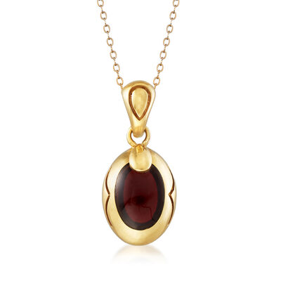 C. 1980 Vintage Garnet Cabochon Pendant Necklace in 18kt Yellow Gold, , default