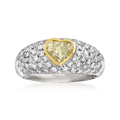 C. 1980 Vintage 1.46 ct. t.w. Yellow and White Diamond Heart Ring in Platinum and 18kt Yellow Gold