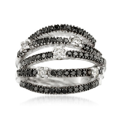 C. 1990 Vintage Damiani 1.10 ct. t.w. Black and White Diamond Highway Ring in 18kt White Gold