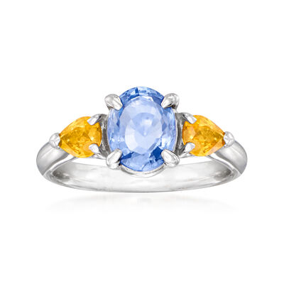 C. 1990 Vintage 1.54 Carat Blue Sapphire and .65 ct. t.w. Yellow Sapphire Ring in Platinum