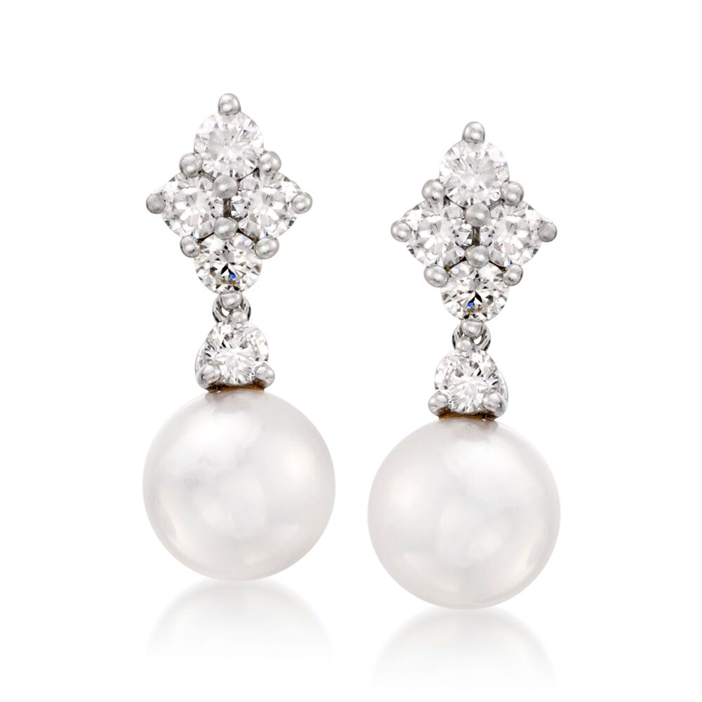 Mikimoto Akoya Pearl And Diamond Drops In 18 Karat White Gold Default