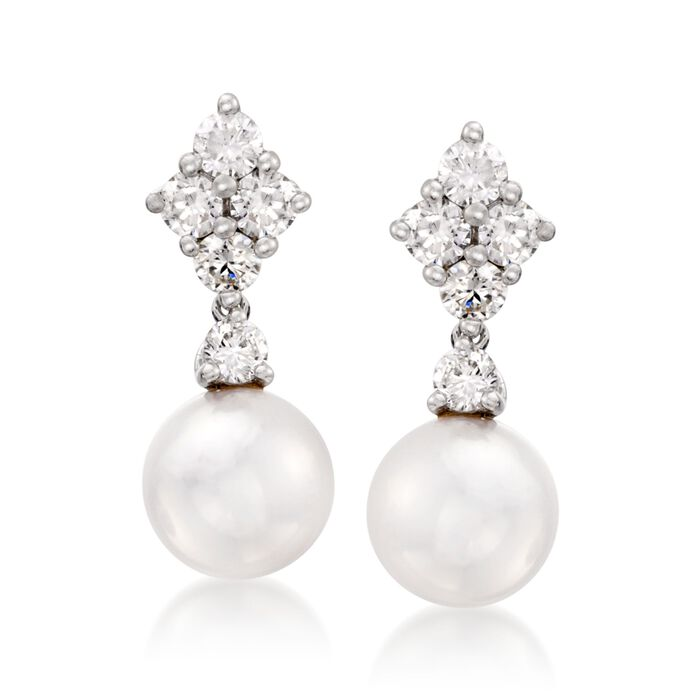 Mikimoto Akoya Pearl and Diamond Drops in 18-Karat White Gold, , default