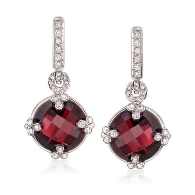 C. 2000 Vintage 12.00 ct. t.w. Garnet and .35 ct. t.w. Diamond Drop Earrings in 18kt White Gold