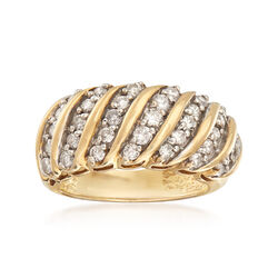 C. 1990 Vintage 1.10 ct. t.w. Diamond Multi-Row Ring in 10kt Yellow Gold, , default