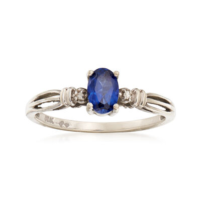 C. 1990 Vintage .55 Carat Sapphire Ring with Diamond Accents in 10kt White Gold, , default