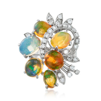 C. 1970 Vintage Multicolored Opal and .65 ct. t.w. Diamond Cocktail Ring in 18kt White Gold