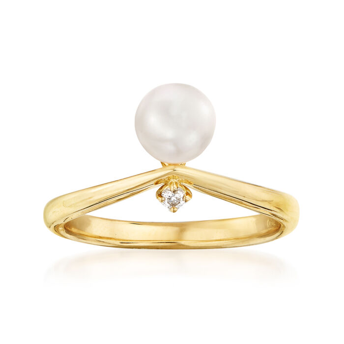 Mikimoto 6.25mm A+ Akoya Pearl Ring with Diamond Accent in 18kt Yellow Gold