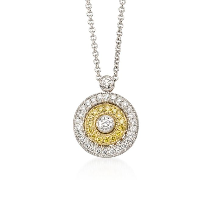 "Simon G. 18-Karat Tri-Colored Gold and .27 Carat Total Weight Diamond Circle Necklace. 18"", , default"