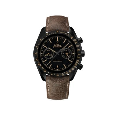 Omega Speedmaster Dark Side of the Moon Men's 44.25mm Auto Chronograph Black Ceramic Watch with Brown Leather