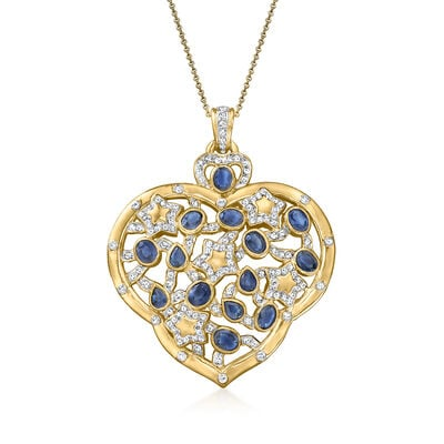 C. 1980 Vintage 6.10 ct. t.w. Sapphire and 1.65 ct. t.w. Diamond Heart Pendant Necklace in 18kt Yellow Gold