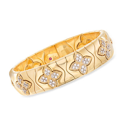 "Roberto Coin ""Princess Flower"" 1.48 ct. t.w. Diamond Cuff Bracelet in 18kt Yellow Gold, , default"