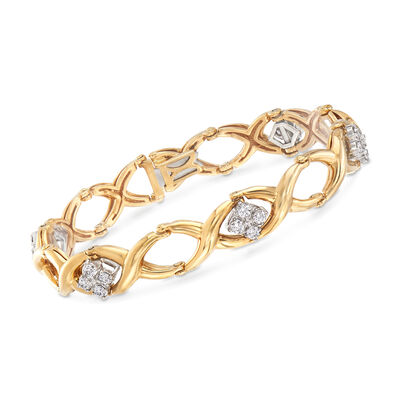 C. 1990 Vintage Jabel 1.40 ct. t.w. Diamond Oval-Link Bracelet in 18kt Yellow Gold, , default