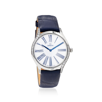 Omega De Ville Tresor Women's 39mm Stainless Steel Watch with Diamonds and Blue Crocodile Strap