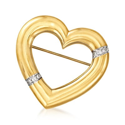 """C. 1982 Vintage Tiffany Jewelry """"Paloma Picasso"""" .25 ct. t.w. Diamond Heart Pin in 18kt Yellow Gold"""