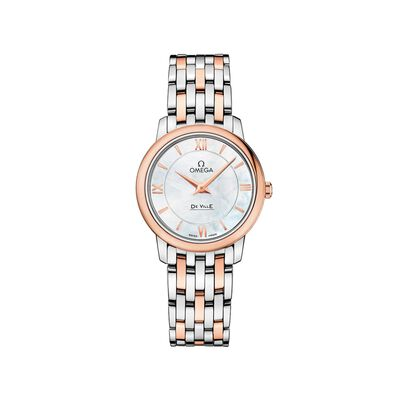 Omega De Ville Prestige Women's 27.4mm Mother-Of-Pearl Watch in Stainless Steel and 18kt Rose Gold