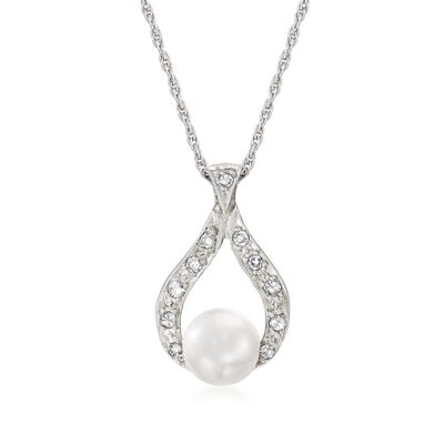 C. 1980 Vintage 6.5mm Cultured Pearl and .15 ct. t.w. Diamond Pendant Necklace in 14kt White Gold