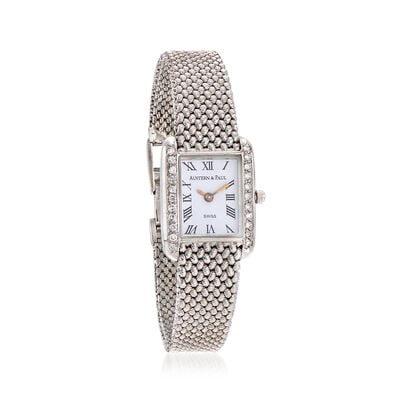 C. 1990 Vintage Austern & Paul Women's 23mm .54 ct. t.w. Diamond Quartz Watch in 14kt White Gold