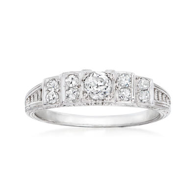 C. 1980 Vintage .41 ct. t.w. Diamond Ring in 18kt White Gold