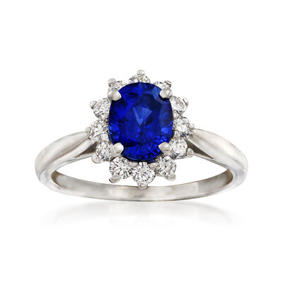C. 1990 Vintage Tiffany Jewelry 1.40 Carat Sapphire and .40 ct. t.w. Diamond Ring in Platinum, , default