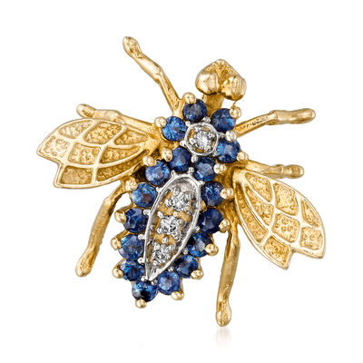 C. 1970 Vintage .85 ct. t.w. Sapphire and Diamond-Accented Bee Pin in 14kt Yellow Gold, , default