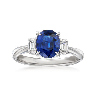 C. 2000 Vintage 1.71 Carat Sapphire and .20 ct. t.w. Diamond Ring in Platinum