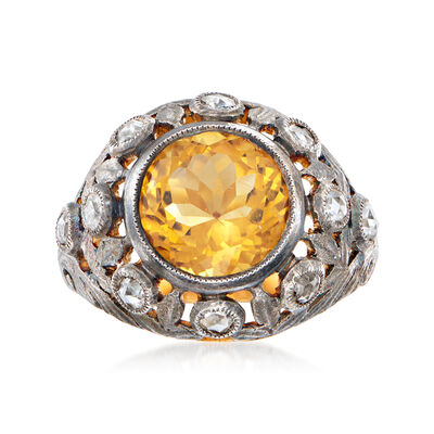 C. 1980 Vintage 3.25 Carat Citrine Ring with .40 ct. t.w. Diamonds in Sterling Silver and 18kt Yellow Gold