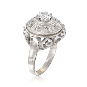 C. 1970 Vintage .68 ct. t.w. Diamond Openwork Dome Ring in 14kt White Gold. Size 6.5