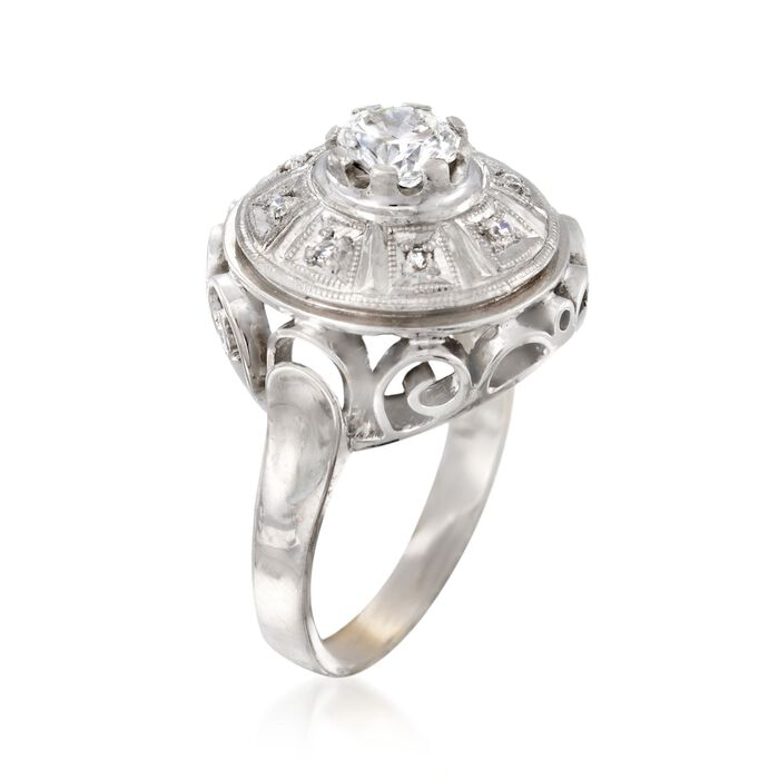 C. 1970 Vintage .68 ct. t.w. Diamond Openwork Dome Ring in 14kt White Gold