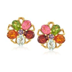 C. 1970 Vintage 7.80 ct. t.w. Multi-Stone Floral Earrings in 18kt Yellow Gold, , default
