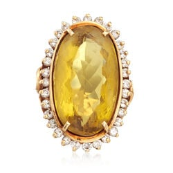 C. 1970 Vintage 18.90 Carat Yellow Beryl and 1.00 ct. t.w. Diamond Ring in 14kt Yellow Gold, , default