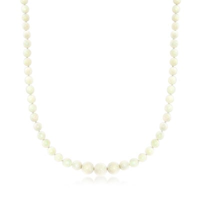 C. 1960 Vintage Graduated Opal Bead Necklace with 14kt Yellow Gold
