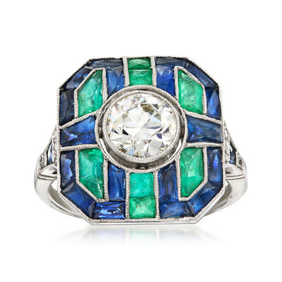 C. 1950 Vintage 1.80 ct. t.w. Sapphire and .30 ct. t.w. Emerald Ring with Diamond Accents in Platinum, , default