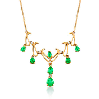 C. 1990 Vintage 1.50 ct. t.w. Emerald and .15 ct. t.w. Diamond Drop Necklace in 18kt Yellow Gold, , default