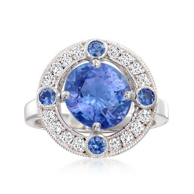 C. 1990 Vintage 4.72 ct. t.w. Sapphire and .45 ct. t.w. Diamond Ring in 18kt White Gold