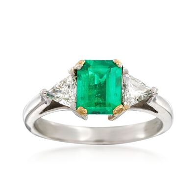 C. 2000 Vintage .85 Carat Emerald and .50 ct. t.w. Diamond Ring with 18kt Gold in Platinum, , default