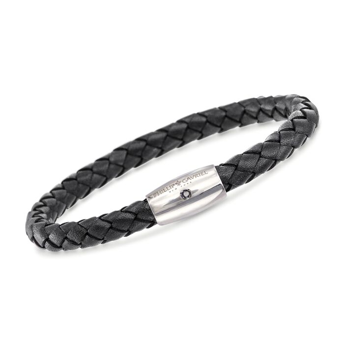 "Phillip Gavriel ""Woven Silver"" Men's Black Leather Bracelet with Sapphire Accent in Sterling Silver"