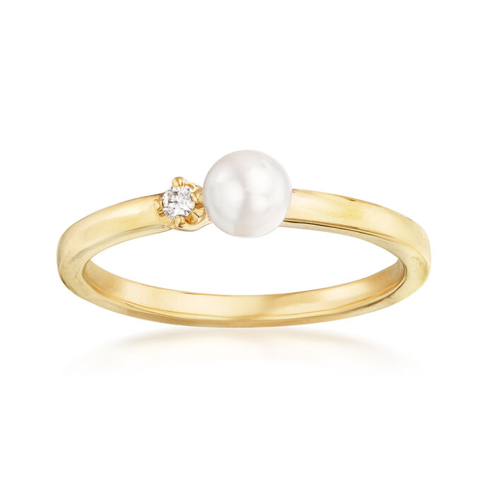 Mikimoto 4.5mm A+ Akoya Pearl Ring with Diamond Accent in 18kt Yellow Gold