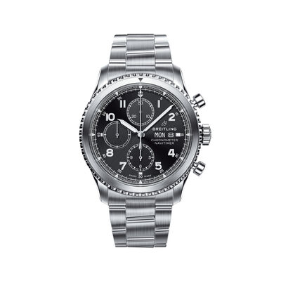Breitling Navitimer 8 Chronograph Men's 43mm Stainless Steel Watch - Black Dial, , default