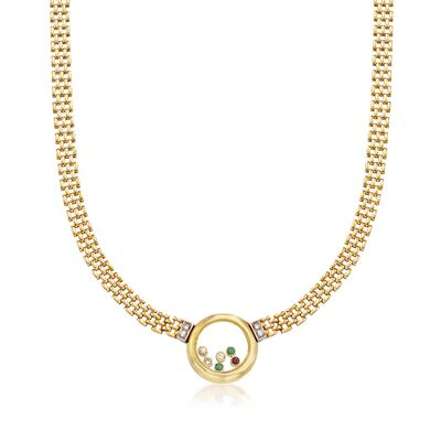C. 1980 Vintage .96 ct. t.w. Floating Multi-Stone Necklace in 18kt Yellow Gold