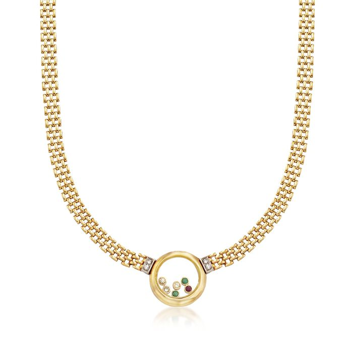 """C. 1980 Vintage .96 ct. t.w. Floating Multi-Stone Necklace in 18kt Yellow Gold. 17.75"""", , default"""