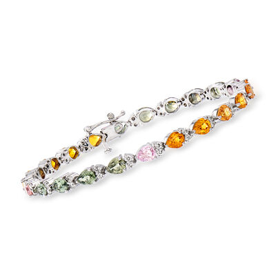C. 1990 Vintage 7.00 ct. t.w. Multicolored Sapphire and .90 ct. t.w. Diamond Tennis Bracelet in 14kt White Gold