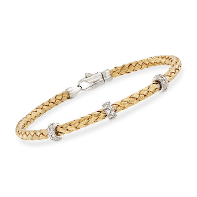 Simon G. .32 ct. t.w. Diamond Three-Station Woven Bangle Bracelet in 18kt Yellow Gold, , default