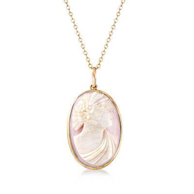 C. 1970 Vintage Agate Cameo Pendant Necklace in 10kt and 14kt Yellow Gold, , default