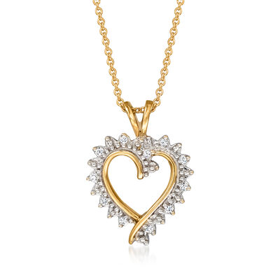 C. 1990 Vintage .10 ct. t.w. Diamond Heart Pendant Necklace in 10kt and 14kt Yellow Gold