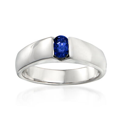 C. 1990 Vintage Salvini .35 Carat Oval Sapphire Ring in 18kt White Gold
