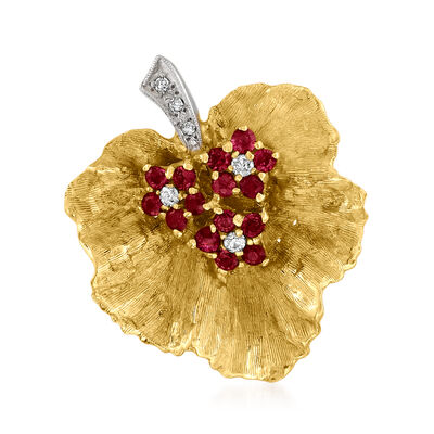 C. 1970 Vintage .75 ct. t.w. Ruby and .10 ct. t.w. Diamond Leaf Pin in 14kt Two-Tone Gold