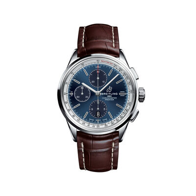 Breitling Premier Chronograph Men's 42mm Stainless Steel Watch - Blue Dial and Brown Leather Strap, , default